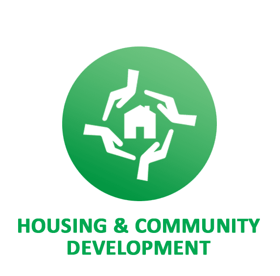 housing green button and icon